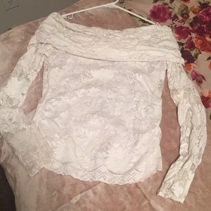 Cache white off the shoulder lace top